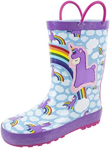 - Rainbow Daze Kids Rain Boots Llama Unicorn,Easy on Handles,Fun Prints,Waterproof,100% Rubber,Little Kid Size 13/1