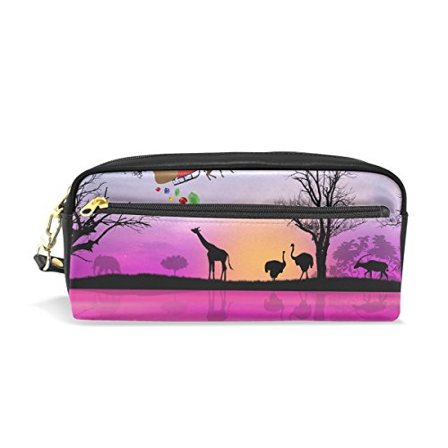 as Santa Claus On Africa Pencil Case PU Leather Students Stationary Pen Bag Pouch Makeup Cosmetic Bag ()