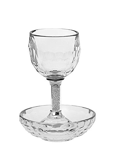 Clear Crystal Kiddush Cup with Matching Saucer ()