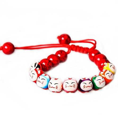 Merope J Handmade Womens 9 Lucky Cat Charm Ceramic Beads And Pine Stone Bracelets Adjustable (Red) Ceramic Mens Bracelets