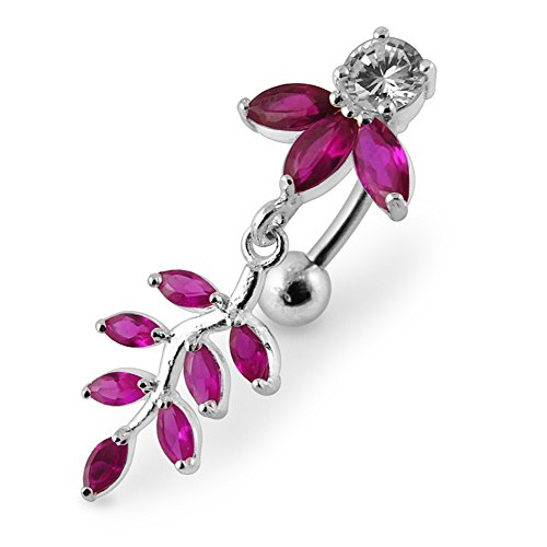Sterling Silver Orchid - Red Crystal Stone Fancy Orchid with Leaf Dangling 925 Sterling Silver with Stainless Steel Belly Button Rings