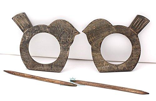 Bird Curtain Tiebacks Drapery Holdbacks Rustic Home Decor - Mango Wood (Backs Curtain Swags Tie)