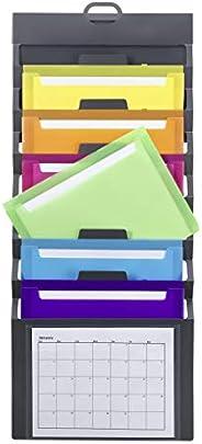 Smead Cascading Wall Organizer, 6 Pockets, Letter Size, Gray/Bright Pockets (92060)