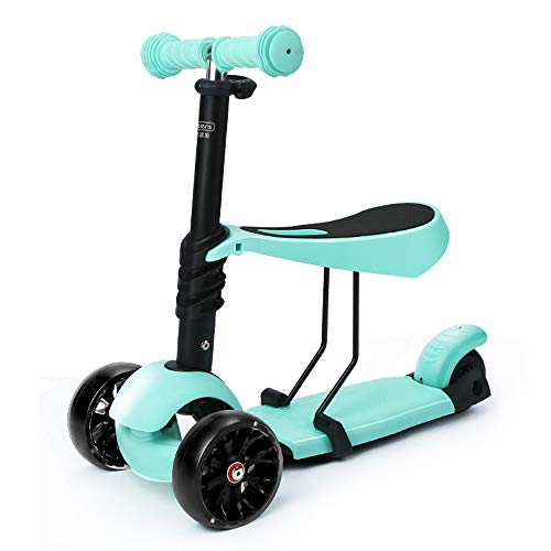 GYFY Children's Scooter can sit Three-Wheeled Children's car Flash Wheel Baby Baby car 1-3-6 Years Old,Blue