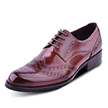 Santimon Men's Leather Full Brogue Lace-up Wingtip Business Oxford Shoes