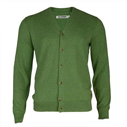Ben Sherman Men's Cotton Cardigan Sweater, Pea Green Ma, (Ben Sherman Cotton Sweater)