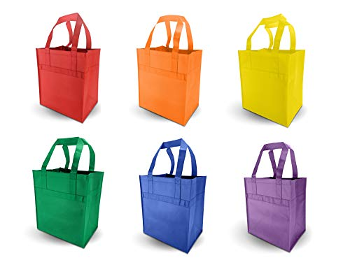 Reusable Grocery Bags - Premium Thickness - Reinforced Wrap Around Handle - Solid Color, or Rainbow Pack of 6 ()
