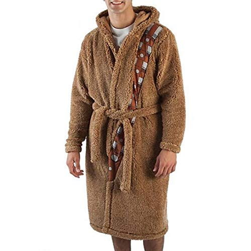 Star Wars Chewbacca Hooded Plush Comfy Adult Robe with Chewy Greeting Sound NWT (Large/X-Large) Brown -