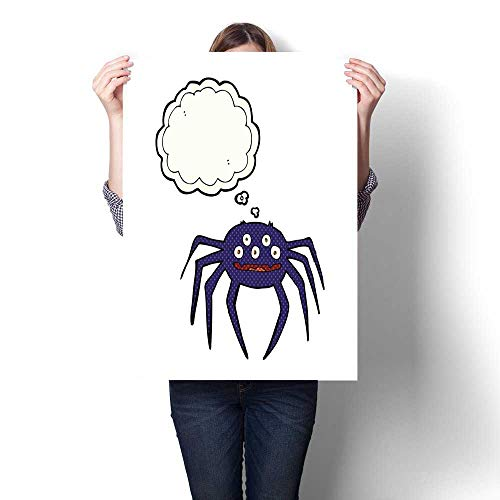 bybyhome Wall Art Oil Paintings Cartoon Halloween Spider with Thought Bubble Decorative Fine Art Canvas Print Poster K 32