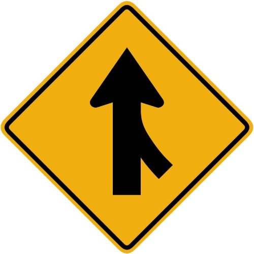 Street & Traffic Sign Wall Decals - Merging Traffic from the Right Sign - 12 inch Removable Graphic