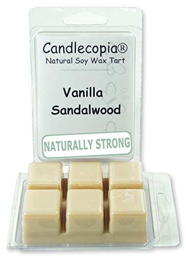 Candlecopia Vanilla Sandalwood Strongly Scented Hand Poured Vegan Wax Melts, 12 Scented Wax Cubes, 6.4 Ounces in 2 x 6-Packs