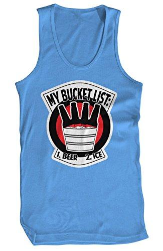 Amdesco Men's Bucket List: 1 Beer 2 Ice Tank Top, Carolina Blue XL
