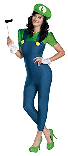 Super Mario Luigi Deluxe Adult Costumes (UHC Women's Sexy Super Mario Luigi Outfit Deluxe Fancy Dress Halloween Costume, S (4-6))