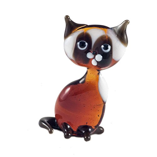 - Little Siamese Cat Glass Figurine Hand-Blown Art Collectible Figures