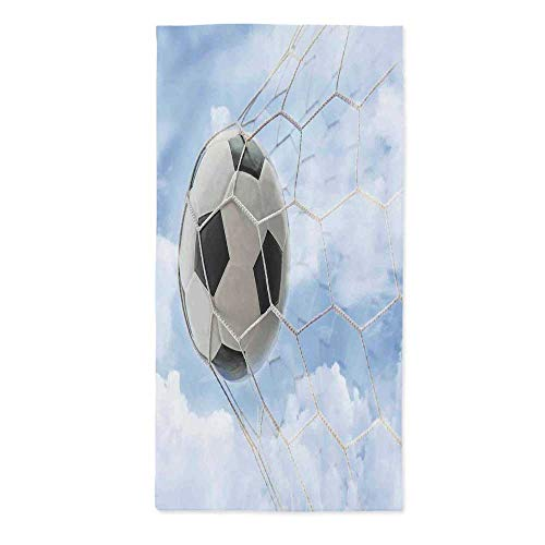 TecBillion Sports Decor Printed Tablecloth,Soccer Ball in Goal with Cloudy Sky Summertime Outdoor Activities Sporting for Rectangle Table Kitchen Dinning Party,24''W X 48''L