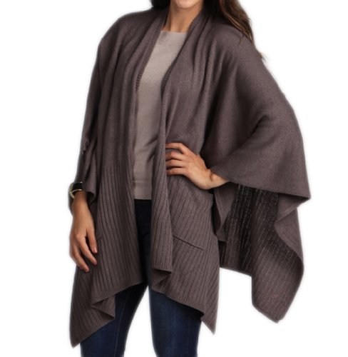 Taleen Knitted Poncho Cape Shawl Wrap with Pockets, 3 Colors