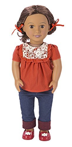 Our Generation Alejandra 18-Inch Doll with Crochet Shirt, Cuffed Blue Jeans, Red Shoes and Hair Ribbons