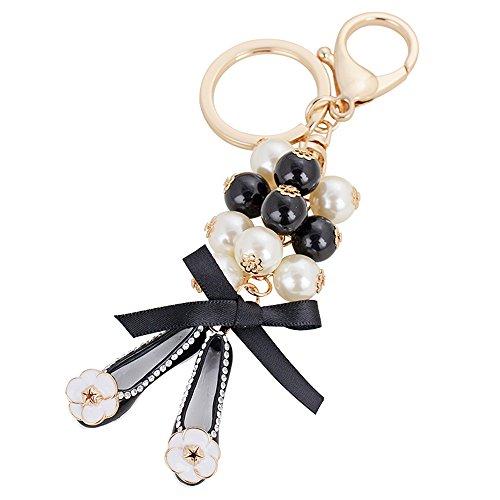 (Kawaii Cute Bow Pearl Shoes Shape As Charms Car Key Chains Key Ring Tassels Keyring Keychains linnor Women Bag Charms DIY (Black))