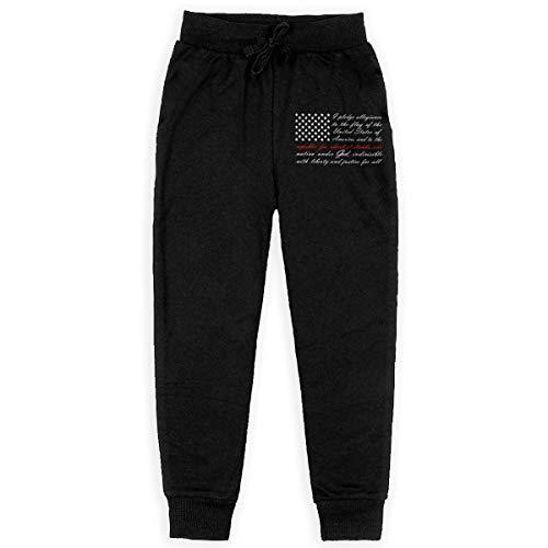 Thin Red Line Maltese Cross Firefighter Teen Boys Cotton Sweatpants Elastic Waist Pants Sports Pants