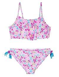 Hilor Bikini para niña con Volantes flotantes, Juego de Dos Piezas de bañador de Playa