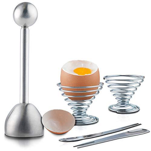 Eierköpfer Edelstahl Sollbruchstelle Eieröffner für hart/weich gekochte Eier inkl. Extra Küchenzubehör (2 Eierbecher und 2 Löffel)