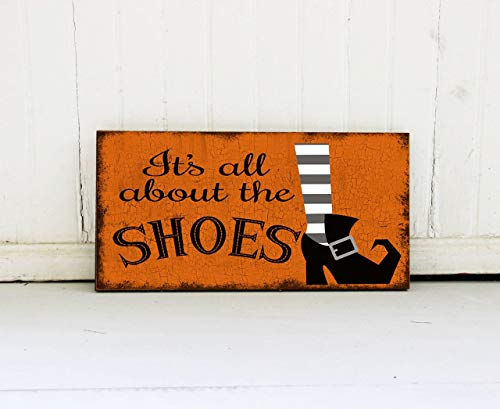 Emily It's All About The Shoes Sign Shoes and Halloween Wall Decor Cute Halloween Sign Wicked Halloween Decor Antique Cabin Wall Art Decoration Plaque Sign -
