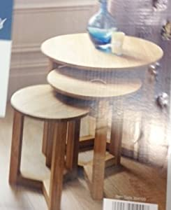 Nest Of 3 Round Tables Stylish Modern Table Oak Effect Round Coffee End Corner  Table Telephone Table