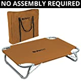 GigaTent Elevated Pet Cot Steel Frame – Foldable Raised Play Rest Bed Dogs Cats Bonus Storage Bag (Small to Medium – 35″ x 24″ x 8″, Tan)