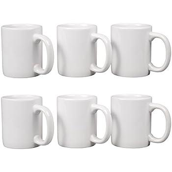 Creative Home 85355 Set of 6 Piece, 12 oz Ceramic Coffee Mug Tea Cup, 3-1/4