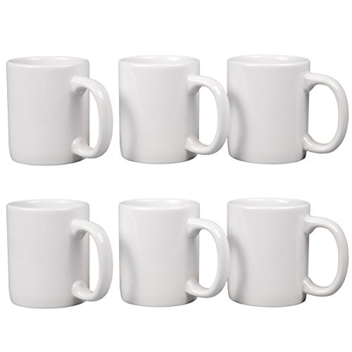 Creative Home 12 oz ceramic Tea Cup Coffee Mug (Set of 6), White