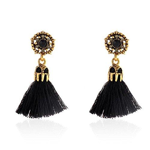 - DZT1968 Women Girl Vintage hollow Crystal Tassel Dangle Stud Earrings Jewelry (Black)