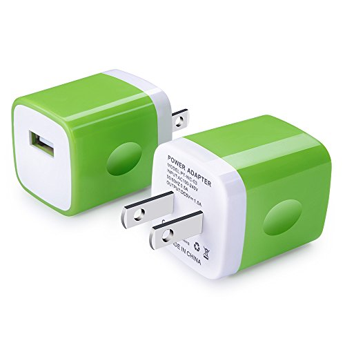 Wall Charger, Charging Plug, Ououdee 2-Pack USB 1AMP Home Travel Adapter Charger Cubes for iPhone 8, 7 Plus, 6 Plus, 6s Plus, iPad, Tablet, Samsung Galaxy S8, S7, S6 Edge, Note 8, LG, HTC, Sony, Nokia