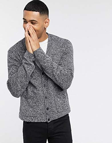 エイソス カーディガン メンズ ASOS DESIGN knitted textured boxy button cardigan in grey twist [並行輸入品]