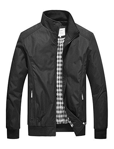 DAVID.ANN Mens Casual Jacket Outdoor Sportswear Windbreaker Lightweight Bomber Jackets and Coats,Black,XXX-Large (Big Tall Jackets Mens)