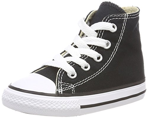 Converse Kids' Chuck Taylor All Star Canvas High Top Sneaker, Black, 1 M US Little Kid by Converse