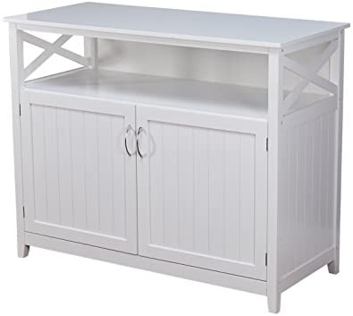 Target Marketing Systems Southport White Solid Wood Buffet Storage Cabinet