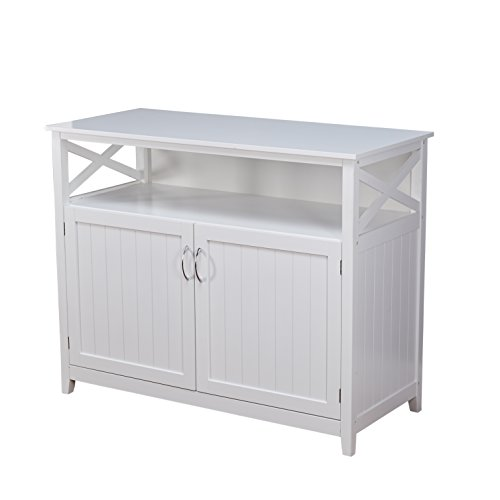 Wine Storage Credenza - Target Marketing Systems 83670WHT Southport Buffet, White Solid Wood Storage Cabinet
