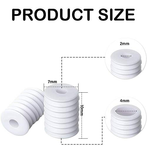 MOTOBA Elastic Cord Locks Silicone Toggles for Drawstrings Elastic Cord Adjuster with Stringing Tool for Adults Kids (Cylinder, 100pcs White)