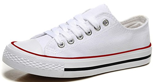 IDIFU Womens Classic Lace Up Low Top Flat Canvas Shoes Round Toe Sneakers Plimsolls White 2 9H1LcOXiW