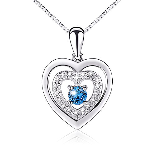 S925 Sterling Silver Double Heart Blue Eternal Love Pendant Necklace, 18""