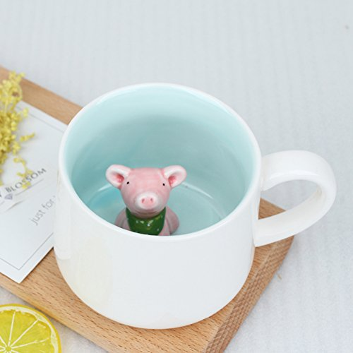 Surprise 3D Cartoon Miniature Animal Coffee Cup Mug with Baby Pig Inside - Best Office Cup & Christmas Gift (Pig)