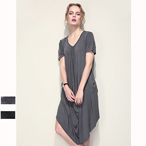 YLSZ-Irregular dress, Europe and America asymmetry, V collar, front and rear, long, irregular dress, dress, gray,gray,F by YLSZ-Women's clothing
