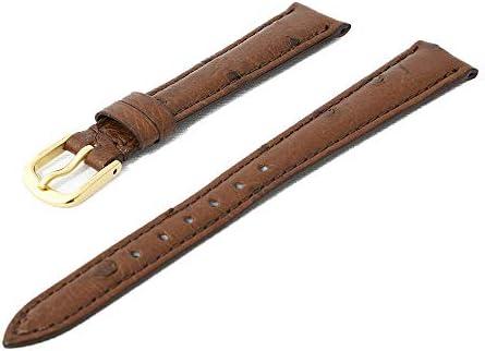 日本製 国内生産 職人によるハンドメイド腕時計ベルト 9mm 高級皮革オーストリッチ(ダチョウ革) ダークブラウン 時計バンド ゴールド尾錠 Made in Japan OS2-9G