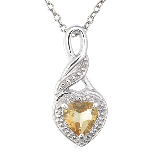 Sterling Silver Citrine Heart Pendant (0.40 CT) With 18 Inch Chain