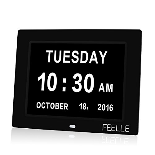 FEELLE Digital Calendar Alarm Day Clock with Extra Large Non-Abbreviated Day for Impaired Vision & Dementia Alzheimer's - 5 Daily Alarms and 3 Medication Alarms - Black