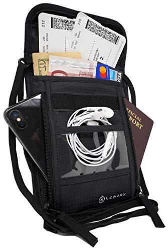 Lewark Neck Travel Wallet Pouch with RFID Blocking Passport Holder