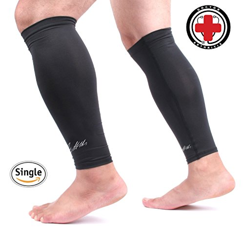 Doctor Developed Copper Calf Compression Sleeve / Shin Support [Single] AND DOCTOR WRITTEN HANDBOOK - GUARANTEED Relief from Calf cramps, Shin splints, Varicose veins, Calf injury (L)