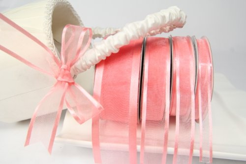 Coral Organza Ribbon With Satin Edge-25 Yards X 5/8 Inches