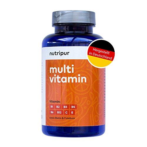 Nutripur Multivitamin 60 vegane Kau-Tabletten | Vitamin B12, C, E, B1, B2, B6 sowie Biotin B7, Folsäure B9, Niacin B3 & Pantothensäure B5 | B Komplex hochdosiert | Monatsration