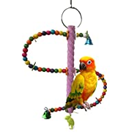 Bird Perch Toy for Parrot Macaw African Greys Budgies Parakeet Cockatoo Cockatiels Conure Lovebird Finch Canary Cage Ladder Toy